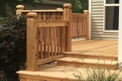 Cedar deck with railing